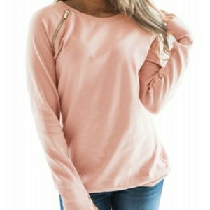 NWT Pink Sweater with Gold Zipper